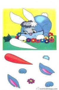 okul öncesi kes yapıştır tavşan