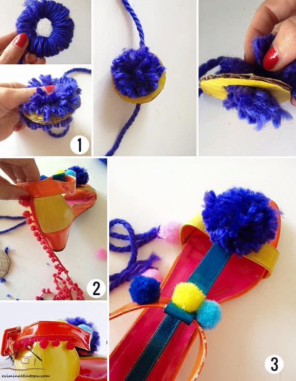 ponpon ile ayakkabı süsleme