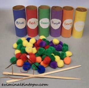 ponpon ile renkleri öğreniyorum
