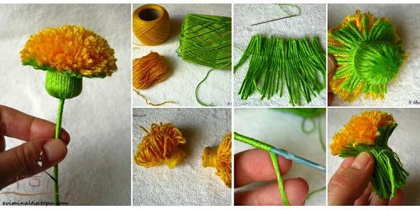 ponpondan çiçek yapımı
