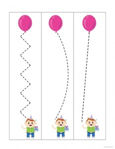 renkli çizgi çalışmaları balonlarla