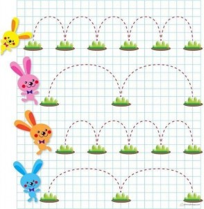 renkli çizgi çalışmaları tavşanlarla