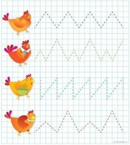 renkli çizgi çalışmaları tavuklarla