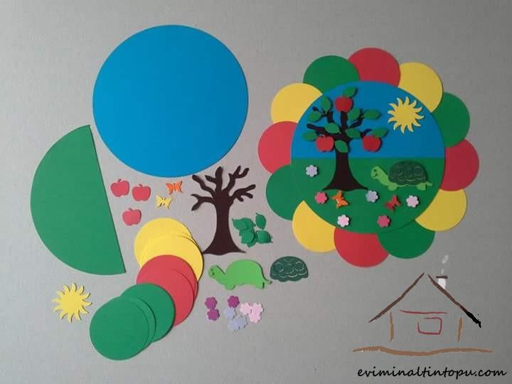 renkli kağıtlardan mevsim etkinliği