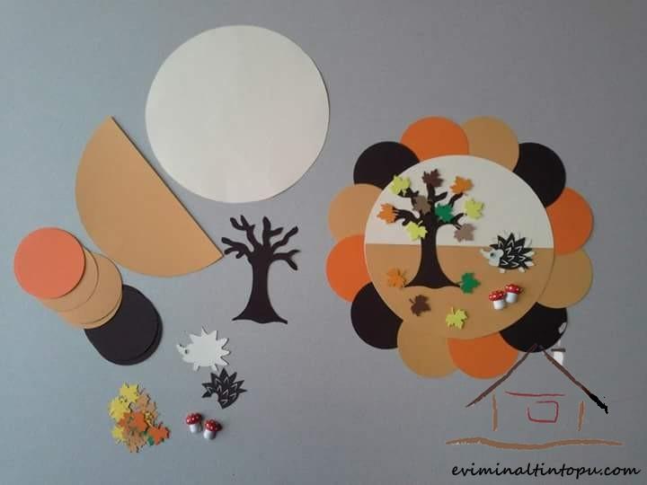 renkli kağıtlardan mevsimler duvar süsü