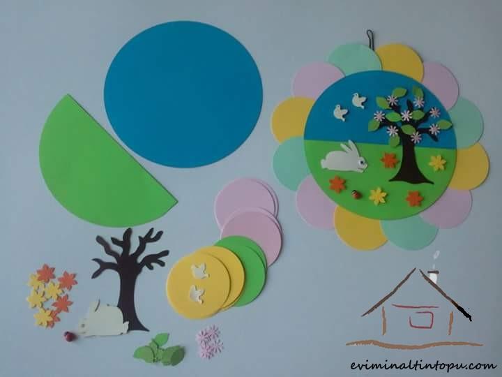 Pano Için Mevsim çalışmaları çocuklara Mevsimler öğretimi Evimin
