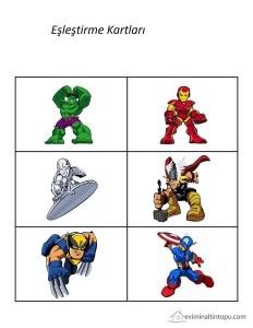 süper kahramanlar eşleştirme
