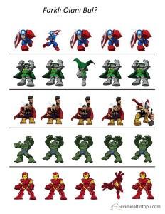 süper kahramanlar farklı olanı bul