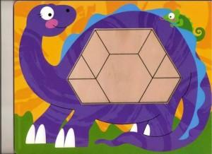 dinozor  temalı tangram örüntü blokları