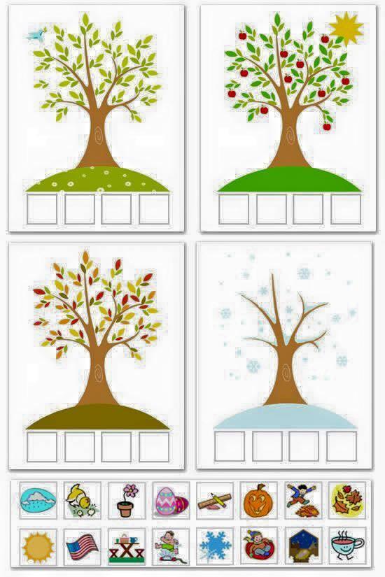 Dört Mevsim Sanat Etkinlikleri Okul öncesi Mevsim çalışmaları