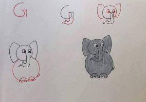 harflerden fil çizimi