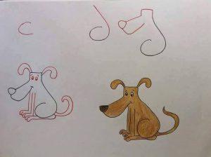 harflerden köpek çizimi