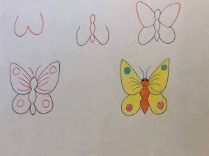 harflerden kelebek çizimi