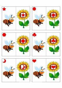arı çiçek şekil eşleştirme