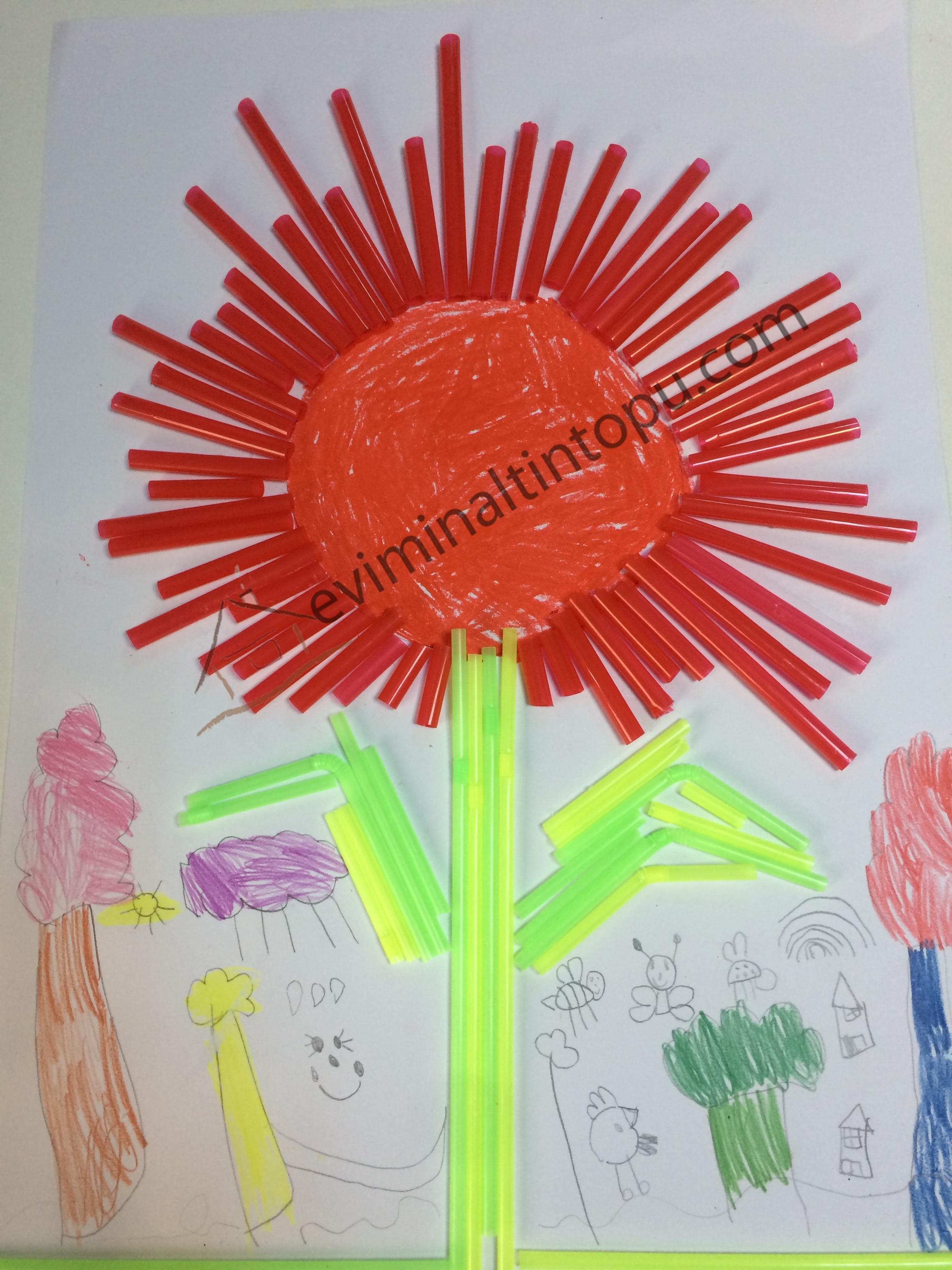 Photo of Renkli pipetlerle çiçek yapımı
