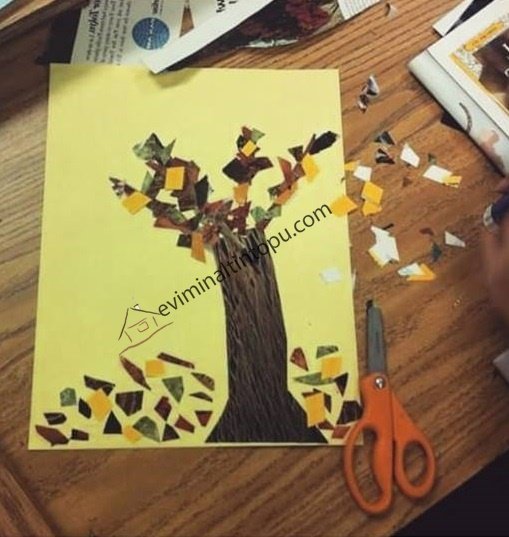kolaj çalışmaları ağaç teması
